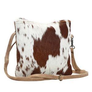 NEW Cow Hide & Leather Crossbody Shoulder Bag